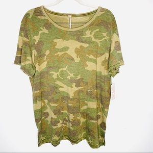 FREE PEOPLE Tourist Camo Tee SIZE M